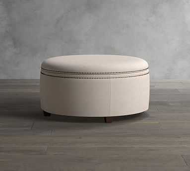 Tamsen Upholstered Round Storage Ottoman, Performance Brushed Basketweave Oatmeal - Pottery Barn