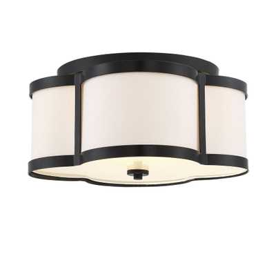Filament Design 16 in. 3-Light Classic Bronze Semi-Flush Mount with White Fabric Shade - Home Depot