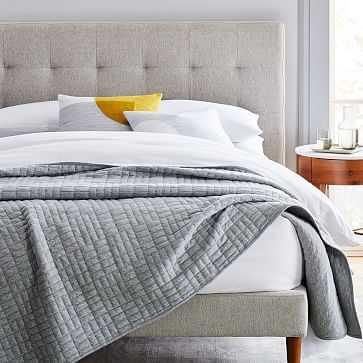 Cotton Jersey Cloud Blanket, King, Medium Heather Gray - West Elm