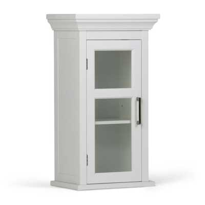 Simpli Home Avington 15 in. W x 26-4/5 in. H x 10 in. D Bathroom Storage Wall Cabinet with Tempered Glass Door in White - Home Depot