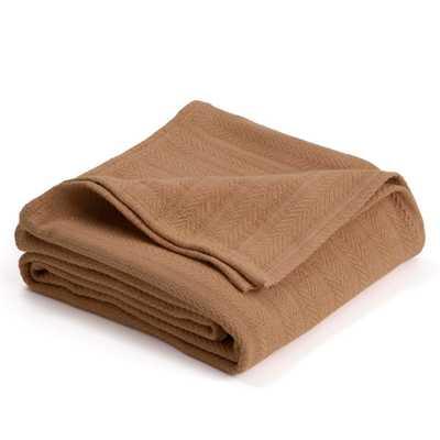 Woven Tan Cotton King Blanket - Home Depot