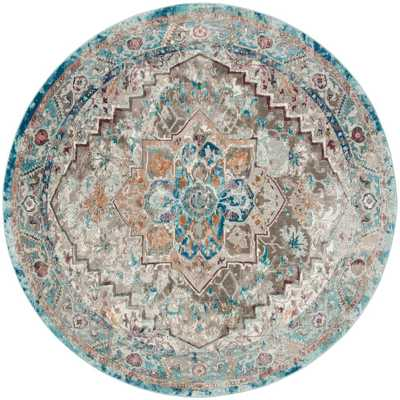 Aria Beige/Blue 6 ft. x 6 ft. Round Area Rug - Home Depot