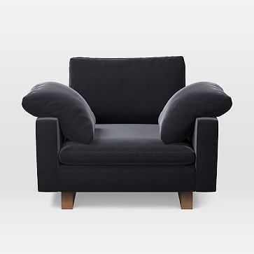 Harmony Chair and a Half, Trillium, Performance Velvet, Shadow, Walnut - West Elm