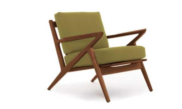 Green Soto Mid Century Modern Concave Arm Chair - Key Largo Grass - Walnut - Joybird