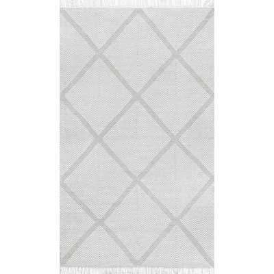 Concetta Trellis Fringe Silver 8 ft. 6 in. x 11 ft. 6 in. Area Rug - Home Depot
