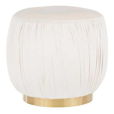 Lumisource Ruched Cream Velvet & Gold Ottoman, Ivory - Home Depot