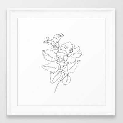 Floral one line drawing - Hibiscus Framed Art Print by Thecolourstudy - Society6