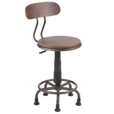 Dakota Antique Metal and Espresso Wood Task Chair, Antique/Espresso Brown - Home Depot
