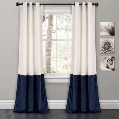 Prima Velvet Color Block Room Darkening Window Curtain White/Navy Set 38X84 - Lush Décor - Target