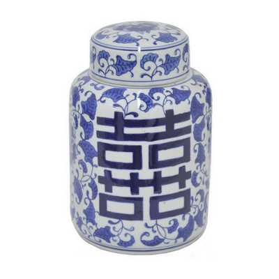 9 in. Blue and White Ceramic Jar, Blues - Home Depot