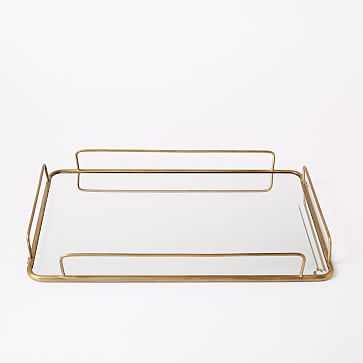 "Fishs Eddy Gilded Cafe Mirror Tray, Large, 12"" W x 18"" L - West Elm"