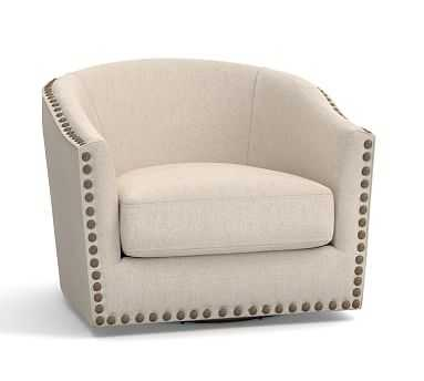 Harlow Upholstered Swivel Armchair with Bronze Nailheads, Polyester Wrapped Cushions, Brushed Canvas Natural - Pottery Barn