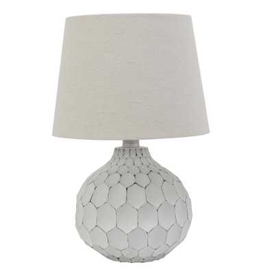 Decor Therapy Bing Faceted 14.5 in. Distressed White Table Lamp with Linen Shade - Home Depot