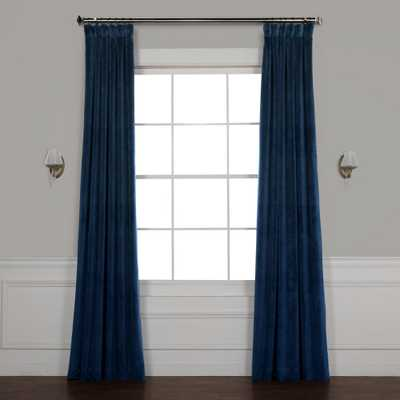 Exclusive Fabrics & Furnishings Eternal Blue Heritage Plush Velvet Curtain - 50 in. W x 108 in. L - Home Depot