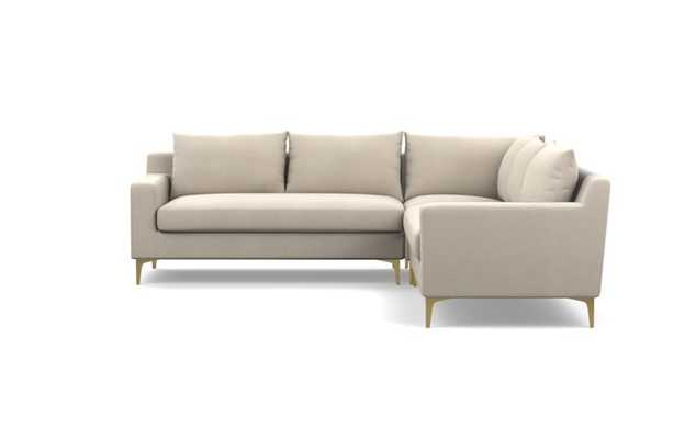 Sloan Corner Sectional with Natural Fabric and Brass Plated legs - Interior Define
