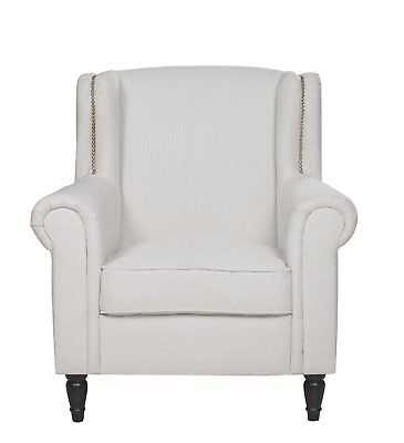 Armchair With Nailheads - Living Room Linen Accent Chair (Beige) - eBay