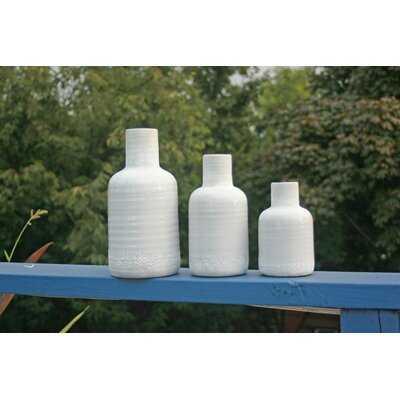 White Ceramic Vases Set Of 3 - Wayfair