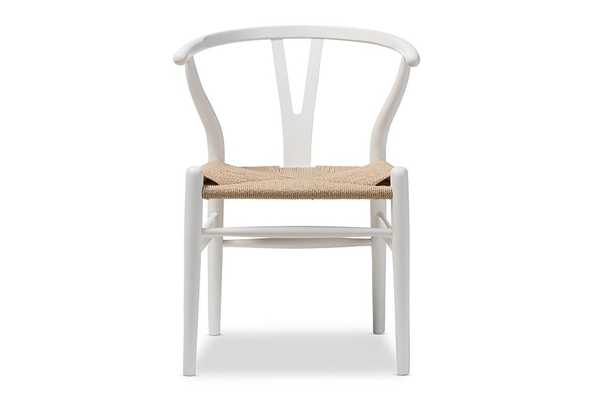 Baxton Studio Mid-Century Modern Wishbone Chair - Ivory Wood Y Chair (Set of 2) - Lark Interiors