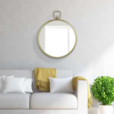 Pinnacle Decorative Handle Round Gold Decorative Mirror - Home Depot