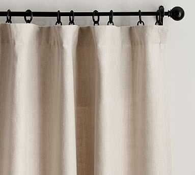 "Belgian Flax Linen Drape, Blackout Lining, 50 x 108"", Natural - Pottery Barn"