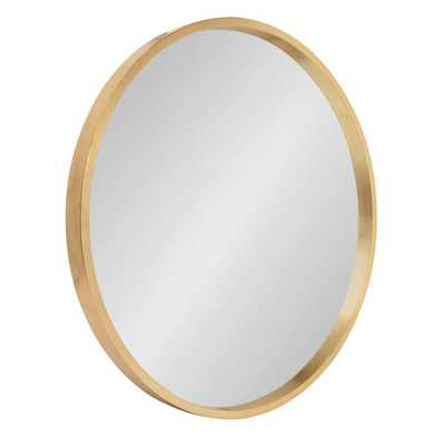 Travis Round Gold Wall Mirror - Home Depot