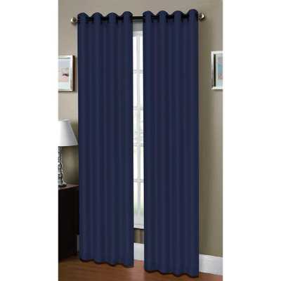 Window Elements Semi-Opaque Raphael Heathered Faux-Linen Extra-Wide 96 in. L Grommet Curtain Panel Pair, Indigo (Blue) (Set of 2) - Home Depot