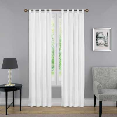Ellery Holdings 95 in. L Light Filtering White Poly/Cotton Tab Top Curtain Panel - Home Depot