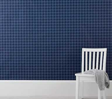 Navy Houndstooth Peel & Stick Wallpaper - Pottery Barn Kids