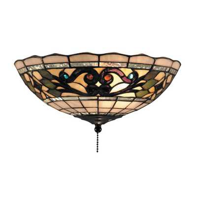 Titan Lighting Tiffany Buckingham 2-Light Vintage Antique Finish with Tiffany Glass Flushmount - Home Depot