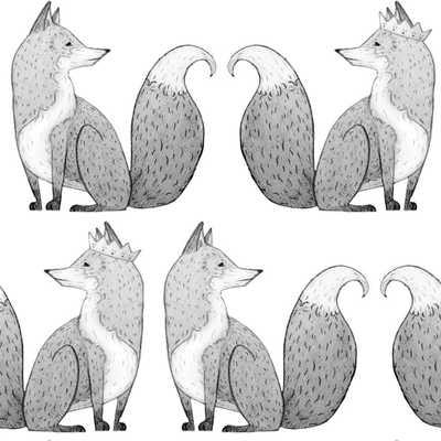 Anewall Mr Fox Modern Classic Fox Illustration Single Panel Wallpaper - Kathy Kuo Home