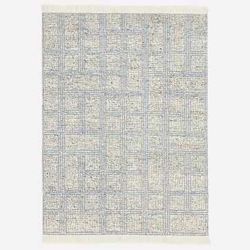 Stacked Squares Rug, Blue Bird, 9'x12' - West Elm