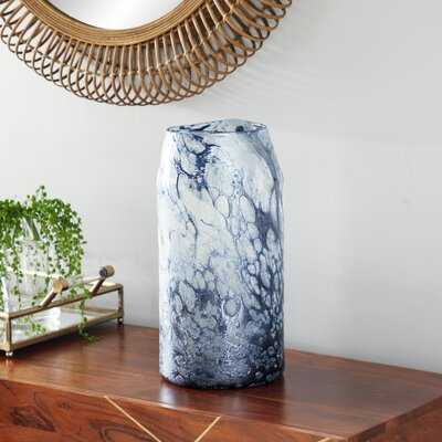 "Cylindrical Bubble Texture Blue Glass Vase, 8"" X 12 - Wayfair"