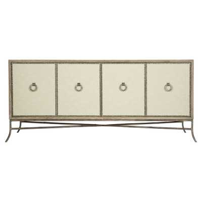 Scarlett Rustic Lodge 4 Door Performance Fabric Wrapped Nailhead Trim Media Cabinet - Kathy Kuo Home