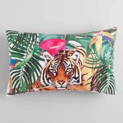 Jungle Tiger Velvet Lumbar Pillow: Multi - Polyester by World Market - World Market/Cost Plus