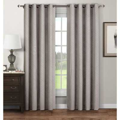 Window Elements Semi-Opaque Stockholm Printed Cotton Extra Wide 96 in. L Grommet Curtain Panel Pair, Grey (Set of 2), Gray - Home Depot