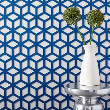 Muratto Cork Wall Covering ,Geo Cube, Cobalt Blue - West Elm