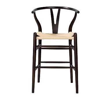 Faith Counter Stool, Walnut Frame/Natural Seat - Pottery Barn