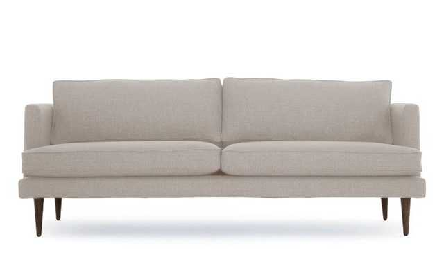 "Beige Preston Mid Century Modern 86"" Sofa - Merit Dove - Coffee Bean - Joybird"