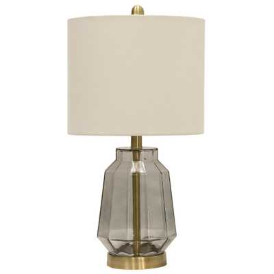 StyleCraft 22.8 in. Grey Table Lamp with White Fabric Shade - Home Depot