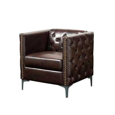 Furniture of America Adner Brown Leather Tufted accent Chair - Home Depot