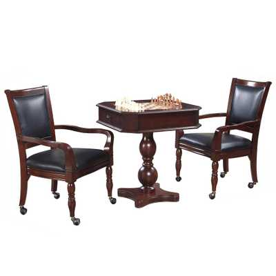 Mahogany Fortress Chess, Checkers & Backgammon Pedestal Game Table & Chairs Set - Home Depot