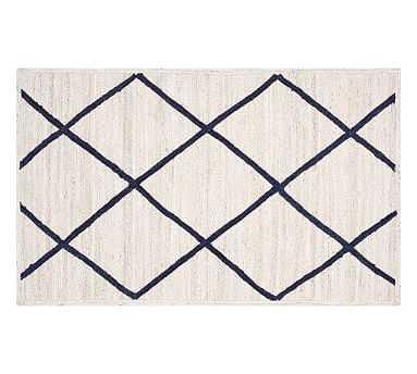 Jute Lattice Rug, 3x5, Navy/Ivory - Pottery Barn