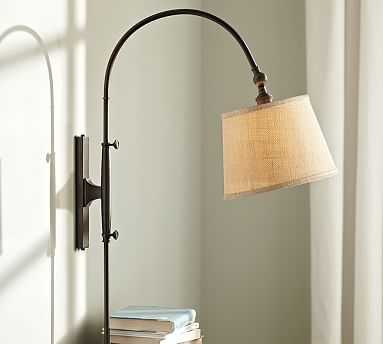 CFL Adjustable Arc Plug-In Sconce with Plug-In Sconce with Burlap Shade, Antique Bronze finish - Pottery Barn