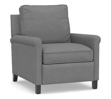 Tyler Roll Arm Upholstered Recliner without Nailheads, Down Blend Wrapped Cushions, Basketweave Slub Charcoal - Pottery Barn