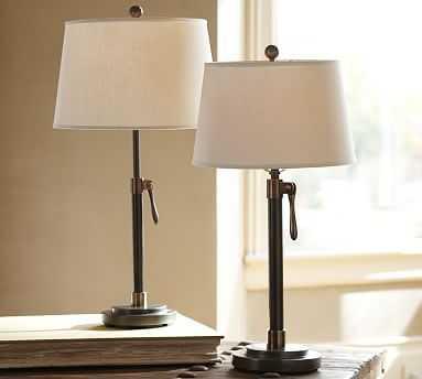 Sutter Table Lamp; Tapered Drum Linen Shade, Ivory, Medium - Pottery Barn
