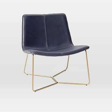 Slope Leather Lounge Chair, Aegean, Antique Brass, UPS - West Elm