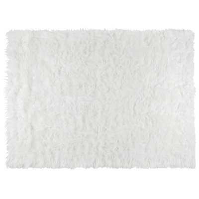 Poitras Faux Fur White Area Rug - Wayfair