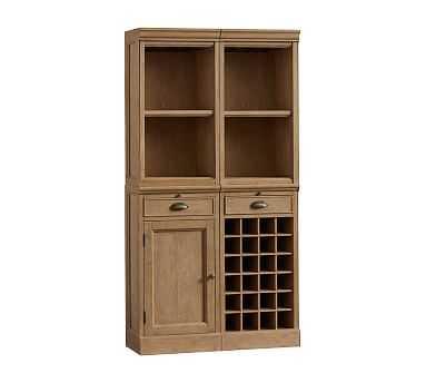 Modular Bar 4-Piece Buffet (2 Standard Hutches, 1 Wine Grid, 1 Cabinet Base), Seadrift - Pottery Barn