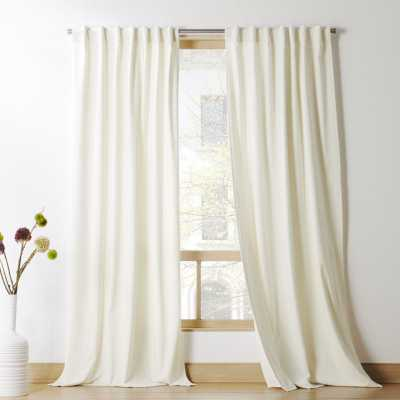 "Ivory Velvet Curtain Panel 48"" x 108"" - CB2"