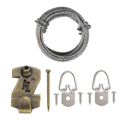1 Hole D Ring Wire Picture Hanging Kit (7-Piece) - Home Depot